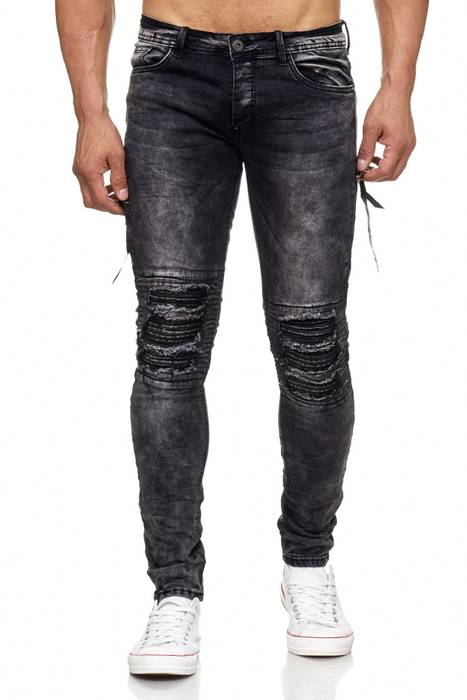 Herren Jeans | Skinny Fit | Biker Ripped Jeanshose | Destroyed | Löcher Risse | Acid Washed | Denim Hose | Tapered Leg | H2055 von JAYLVIS – Bild 2