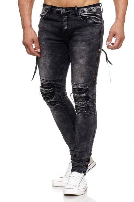 Herren Jeans | Skinny Fit | Biker Ripped Jeanshose | Destroyed | Löcher Risse | Acid Washed | Denim Hose | Tapered Leg | H2055 von JAYLVIS – Bild 3
