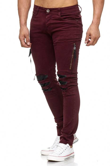 Herren Jeans | Skinny Fit | Biker Ripped Jeanshose | Destroyed | Löcher Risse | Acid Washed | Denim Hose | Tapered Leg | H2055 von JAYLVIS – Bild 6