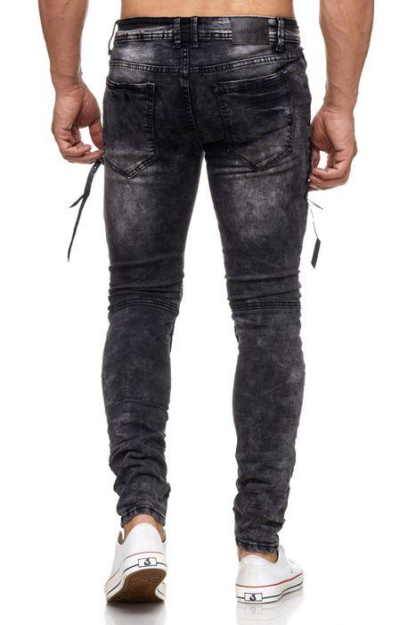 Herren Jeans Destroyed Ripped Biker Hose Acid Washed Tapered Leg H2055 – Bild 4