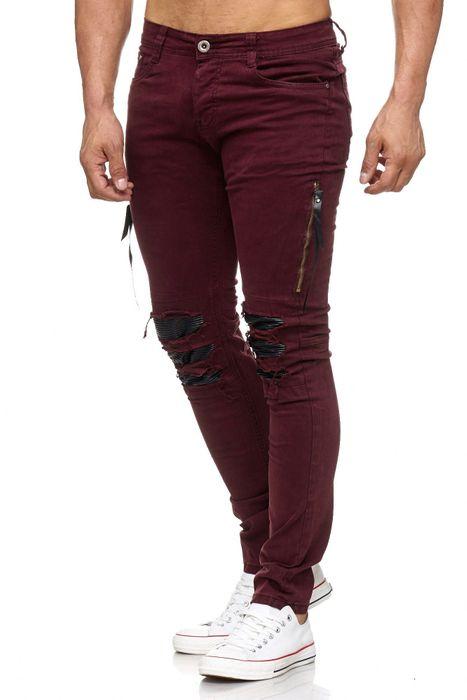 Herren Jeans Destroyed Ripped Biker Hose Acid Washed Tapered Leg H2055 – Bild 6