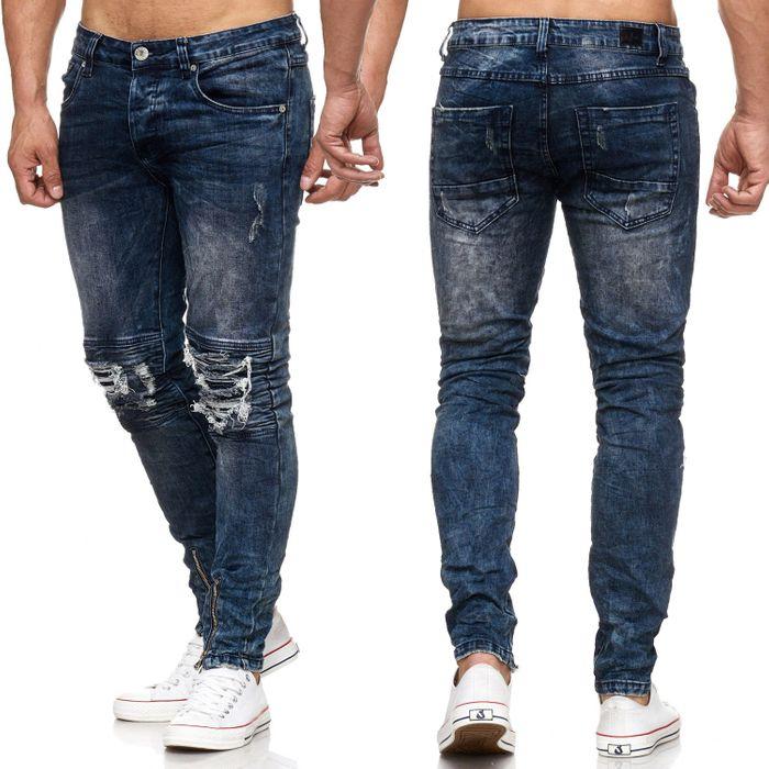 Herren Jeans Biker Knie Slim Fit Destroyed Ankle Zip Acid Washed Ripped H2056 – Bild 1