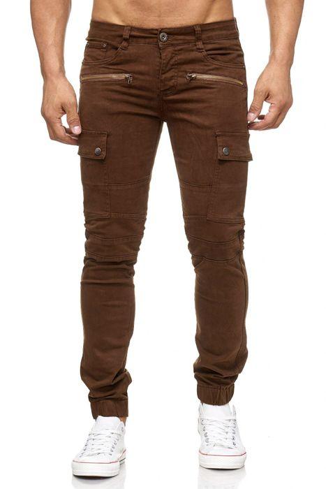 Herren Jeans Slim Fit Joggjeans Biker Knie Chino Hose Cargo Taschen H2057 – Bild 2