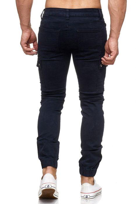 Herren Jeans Slim Fit Joggjeans Biker Knie Chino Hose Cargo Taschen H2057 – Bild 7