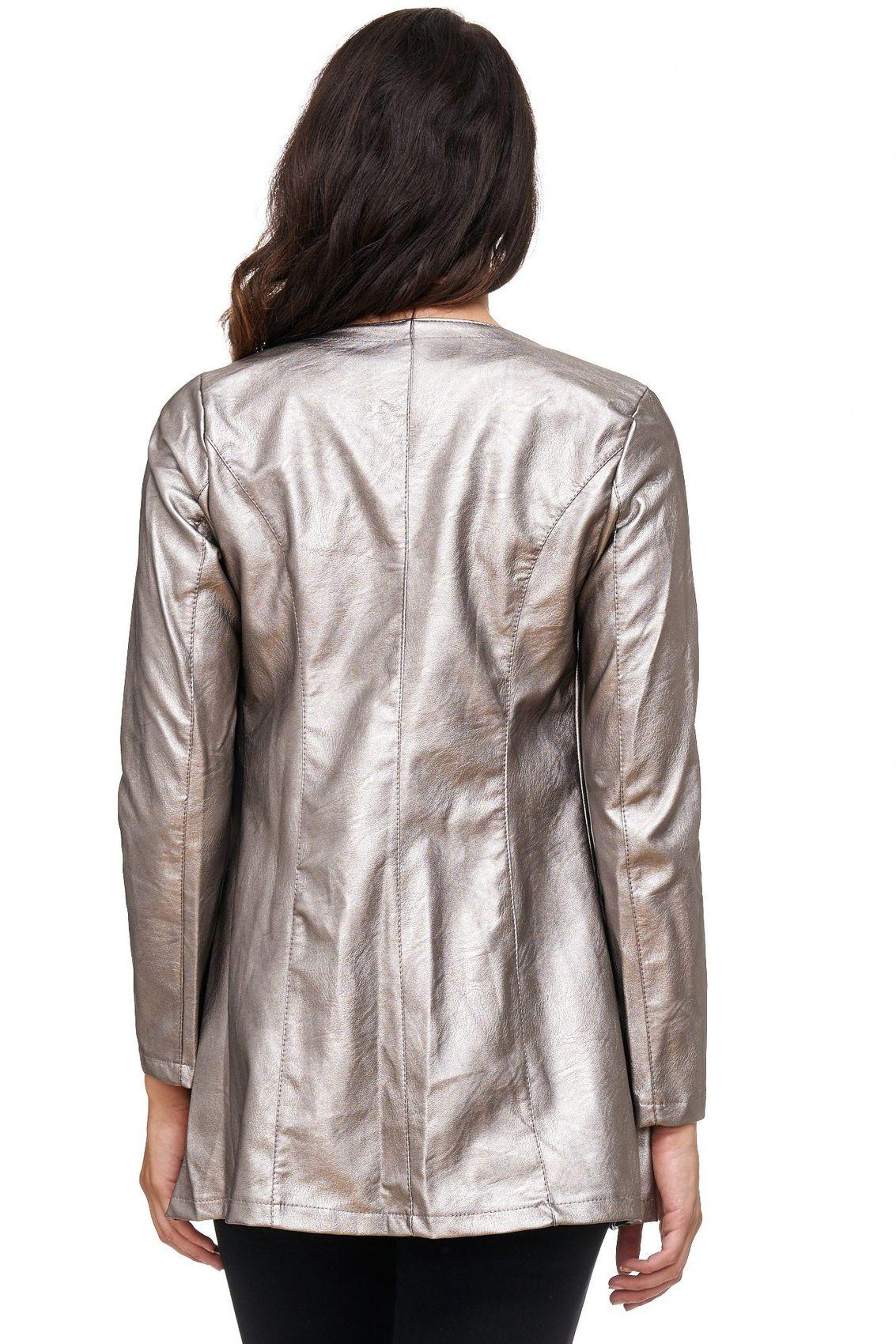damen lederjacke mantel lang weste leder biker club langarm jacket look neu ebay. Black Bedroom Furniture Sets. Home Design Ideas