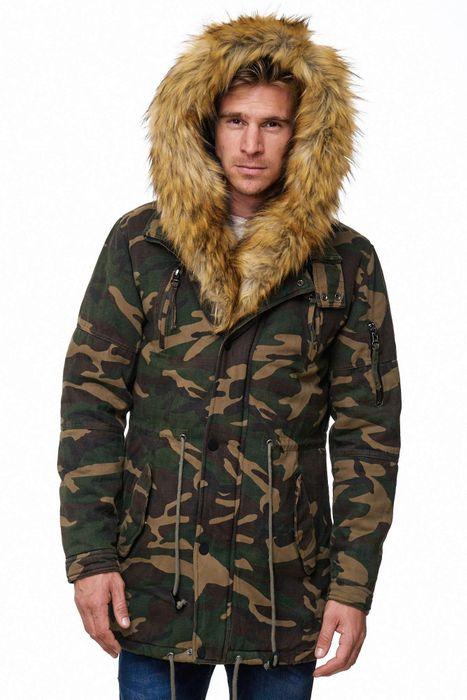 Herren Parka Camouflage Fell Kapuze Winterjacke H2064 – Bild 5