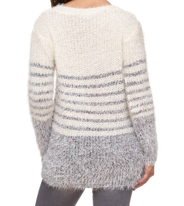 Damen Strick Pullover Langes Sweat Shirt Kuschel Strick Pulli Gestreift D2066 – Bild 9