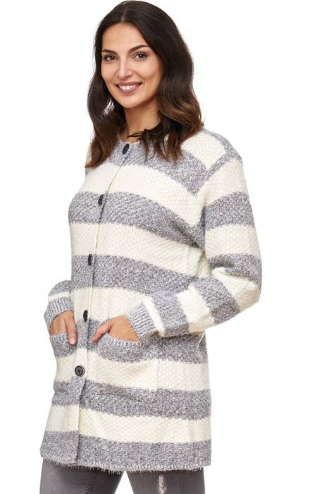 Damen Cardigan Long Sweat Shirt Pullover Jacke Weste Strick Gestreift D2068 – Bild 9