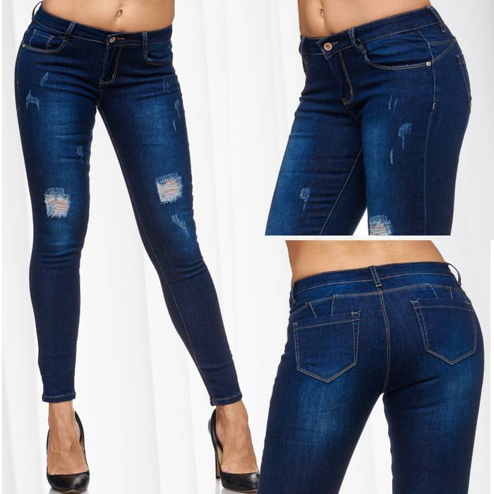 Damen Jeans Ripped Hüfthose Destroyed Skinny Fit Stretch Röhre D2075 – Bild 1