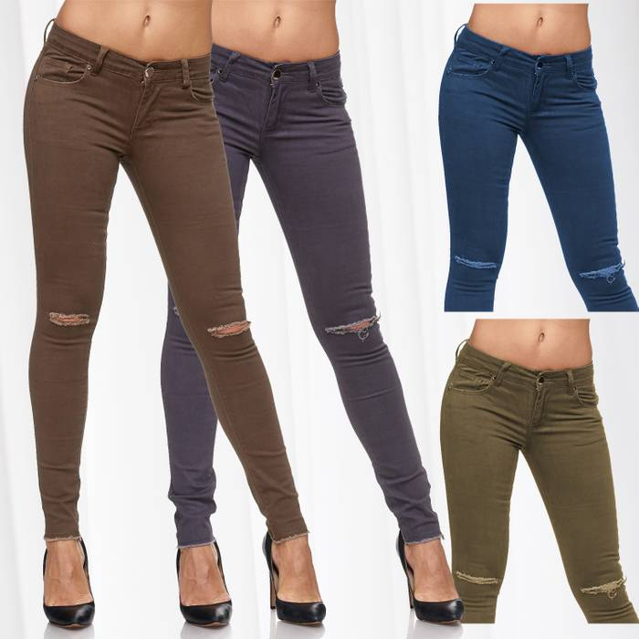 Damen Jeans · Destroyed · Skinny Fit · Biker Stretch Hüfthose mit Riss am Knie · Röhre mit Löchern · Ripped Jeggings · Zerrissene Slim Treggings · Normaler Bund · D2080 in Markenqualität