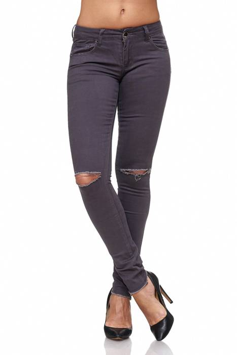 Damen Jeans · Destroyed · Skinny Fit · Biker Stretch Hüfthose mit Riss am Knie · Röhre mit Löchern · Ripped Jeggings · Zerrissene Slim Treggings · Normaler Bund · D2080 in Markenqualität – Bild 3