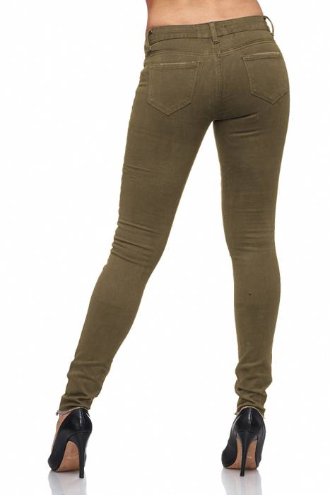 Damen Jeans · Destroyed · Skinny Fit · Biker Stretch Hüfthose mit Riss am Knie · Röhre mit Löchern · Ripped Jeggings · Zerrissene Slim Treggings · Normaler Bund · D2080 in Markenqualität – Bild 14