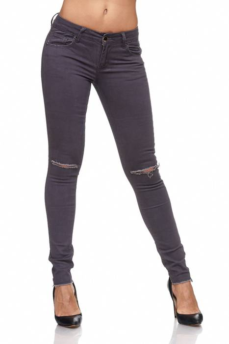 Damen Jeans · Destroyed · Skinny Fit · Biker Stretch Hüfthose mit Riss am Knie · Röhre mit Löchern · Ripped Jeggings · Zerrissene Slim Treggings · Normaler Bund · D2080 in Markenqualität – Bild 2