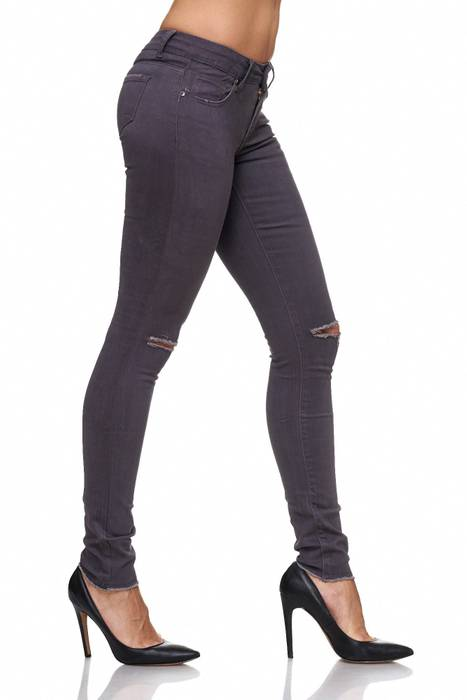Damen Jeans · Destroyed · Skinny Fit · Biker Stretch Hüfthose mit Riss am Knie · Röhre mit Löchern · Ripped Jeggings · Zerrissene Slim Treggings · Normaler Bund · D2080 in Markenqualität – Bild 5