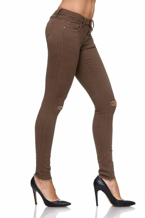 Damen Jeans · Destroyed · Skinny Fit · Biker Stretch Hüfthose mit Riss am Knie · Röhre mit Löchern · Ripped Jeggings · Zerrissene Slim Treggings · Normaler Bund · D2080 in Markenqualität – Bild 11