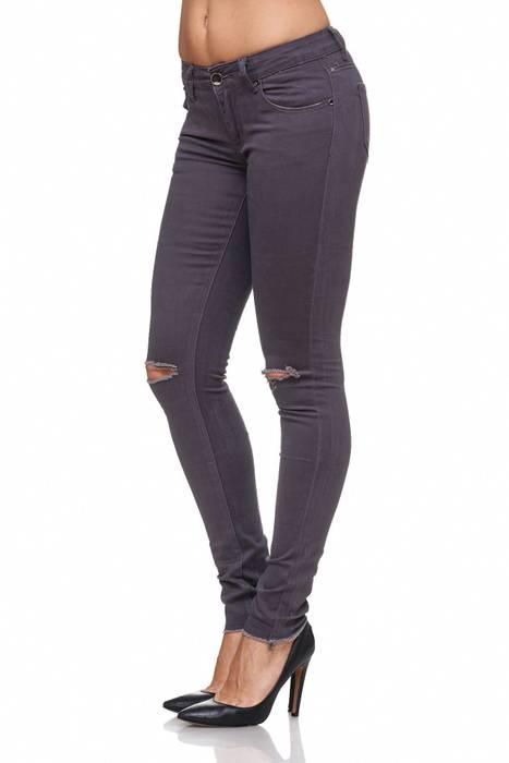 Damen Jeans Ripped Hose Destroyed Hüfthose Used Look Knie Löcher Risse D2080 – Bild 4