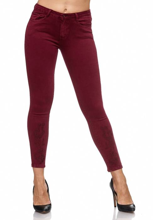 Damen Jeans Blumen Stickerei Stretch Florales Muster Ankle Cut Treggings D2083 – Bild 6