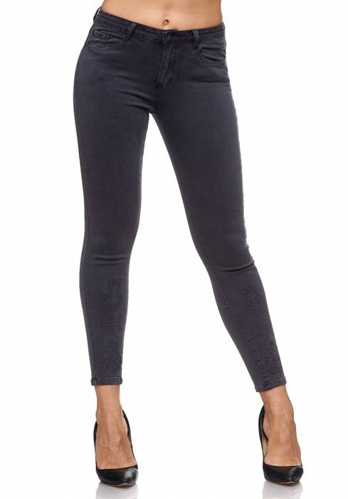 Damen Jeans Blumen Stickerei Stretch Florales Muster Ankle Cut Treggings D2083 – Bild 10