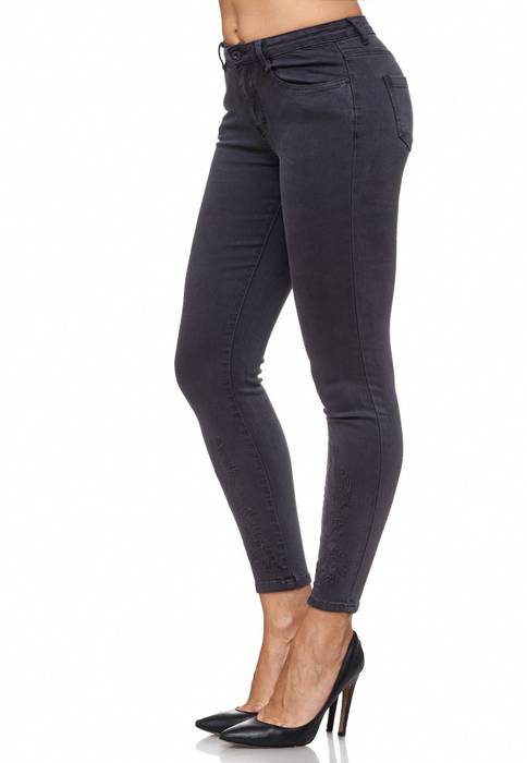 Damen Jeans Blumen Stickerei Stretch Florales Muster Ankle Cut Treggings D2083 – Bild 11
