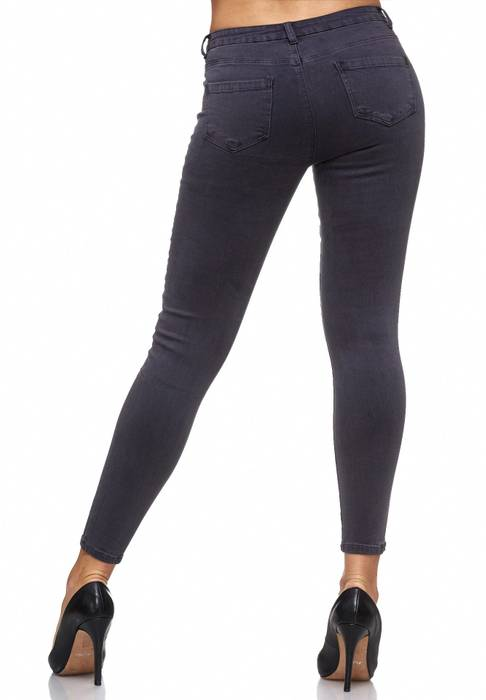 Damen Jeans Blumen Stickerei Stretch Florales Muster Ankle Cut Treggings D2083 – Bild 13