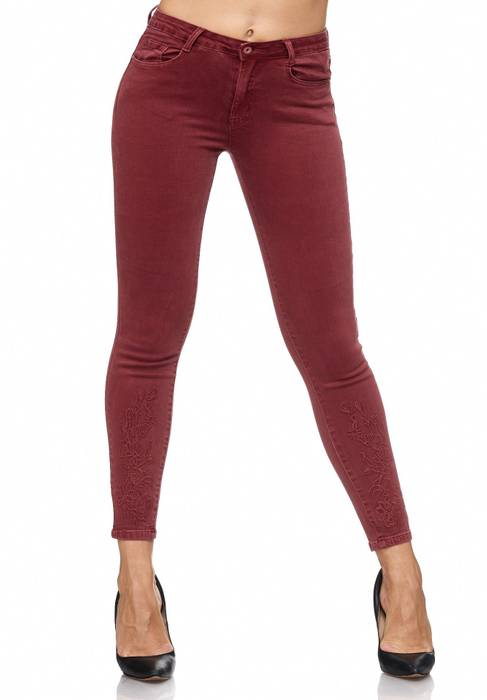 Damen Jeans Blumen Stickerei Stretch Florales Muster Ankle Cut Treggings D2083 – Bild 22
