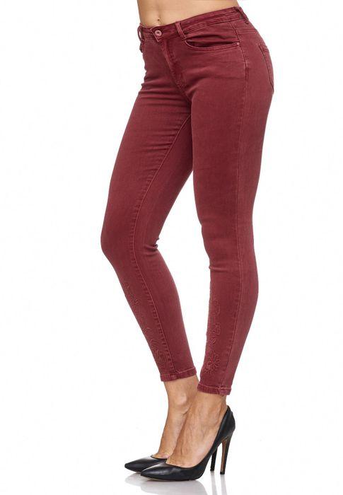 Damen Jeans Blumen Stickerei Stretch Florales Muster Ankle Cut Treggings D2083 – Bild 23