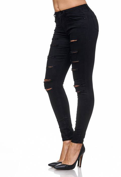 Damen Jeans Ripped Hose Destroyed Treggings Biker Risse Löcher D2084 – Bild 4