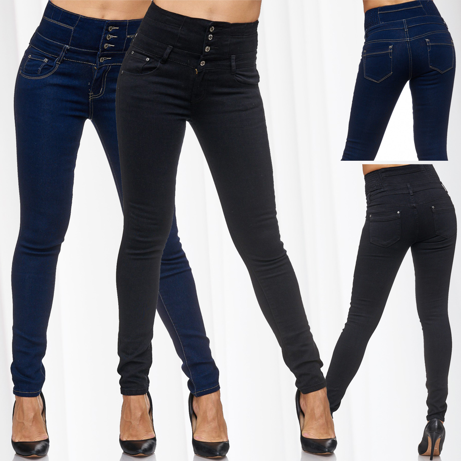 damen high waist jeans hose jeggings stretch skinny r hre treggings hoher bund ebay. Black Bedroom Furniture Sets. Home Design Ideas