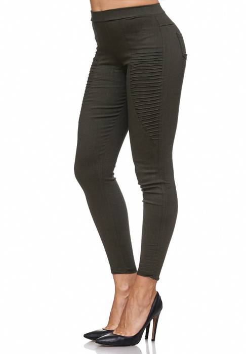 Damen Treggings Biker Jeggings Jeans Hüfthose D2088 – Bild 9