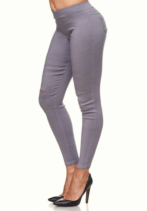 Damen Treggings Destroyed Used Look Stretch Hüfthose Ripped Leggings D2089 – Bild 8