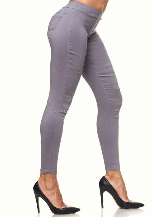 Damen Treggings Destroyed Used Look Stretch Hüfthose Ripped Leggings D2089 – Bild 9