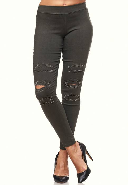 Damen Treggings Destroyed Used Look Stretch Hüfthose Ripped Leggings D2089 – Bild 22