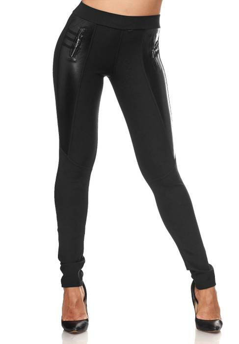 Damen Treggings Biker Look Zier-Zipper Leder Stretch Hüfthose Röhre Hose Jeggings D2090 – Bild 22