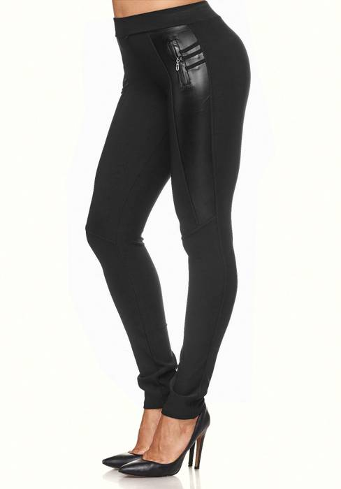 Damen Treggings Biker Look Zier-Zipper Leder Stretch Hüfthose Röhre Hose Jeggings D2090 – Bild 24