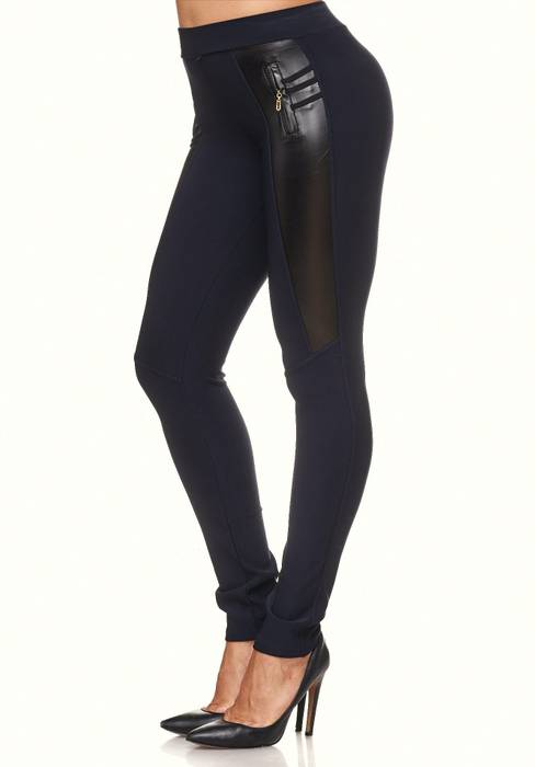 Damen Treggings Biker Look Zier-Zipper Leder Stretch Hüfthose Röhre Hose Jeggings D2090 – Bild 4