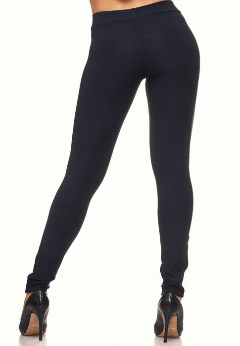 Damen Treggings Biker Look Zier-Zipper Leder Stretch Hüfthose Röhre Hose Jeggings D2090 – Bild 6