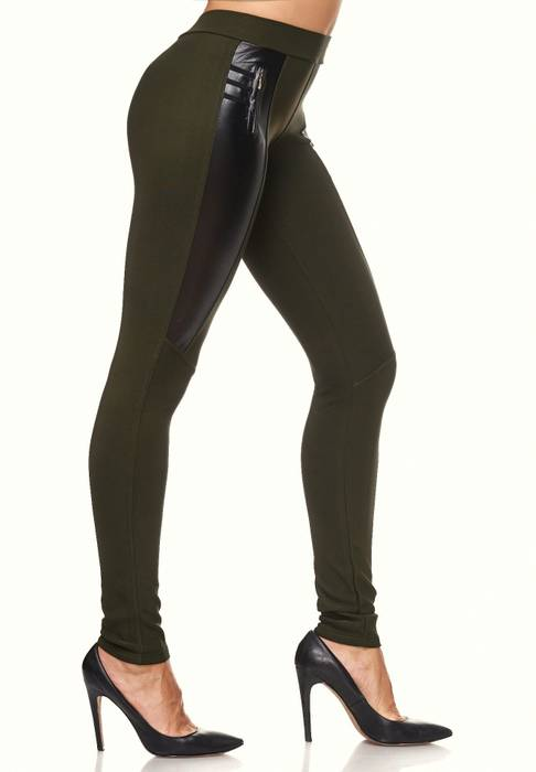 Damen Treggings Biker Look Zier-Zipper Leder Stretch Hüfthose Röhre Hose Jeggings D2090 – Bild 10