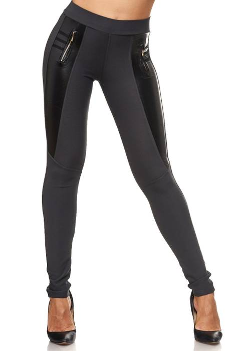 Damen Treggings Biker Look Zier-Zipper Leder Stretch Hüfthose Röhre Hose Jeggings D2090 – Bild 17