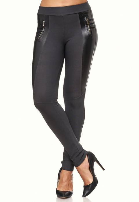 Damen Treggings Biker Look Zier-Zipper Leder Stretch Hüfthose Röhre Hose Jeggings D2090 – Bild 18