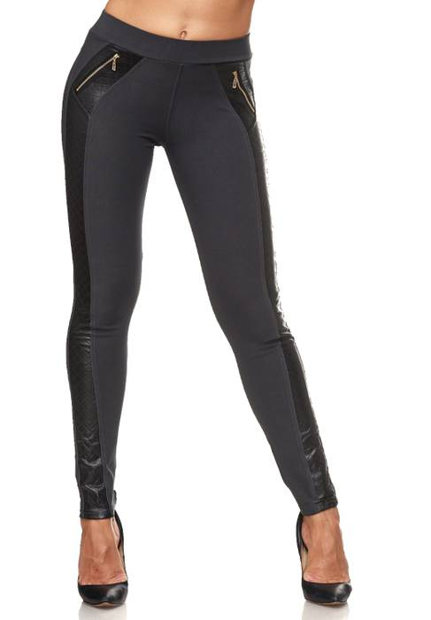 Damen Treggings Leder Details Biker Style Zipper Stretch Hüfthose Hose Jeggings D2091 – Bild 3