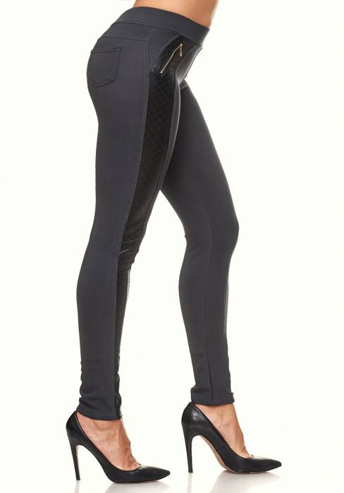 Damen Treggings Leder Details Biker Style Zipper Stretch Hüfthose Hose Jeggings D2091 – Bild 5