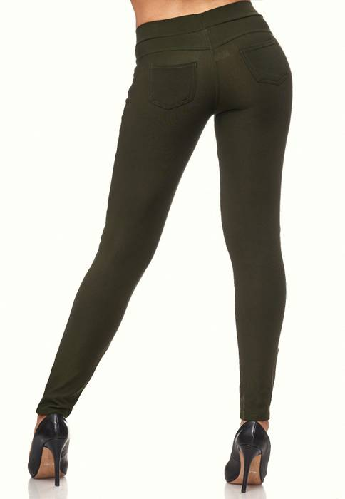 Damen Treggings Leder Details Biker Style Zipper Stretch Hüfthose Hose Jeggings D2091 – Bild 10