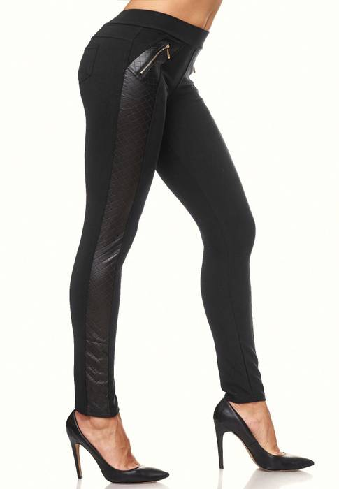 Damen Treggings Leder Details Biker Style Zipper Stretch Hüfthose Hose Jeggings D2091 – Bild 13