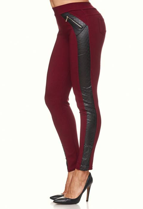 Damen Treggings Leder Details Biker Style Zipper Stretch Hüfthose Hose Jeggings D2091 – Bild 16