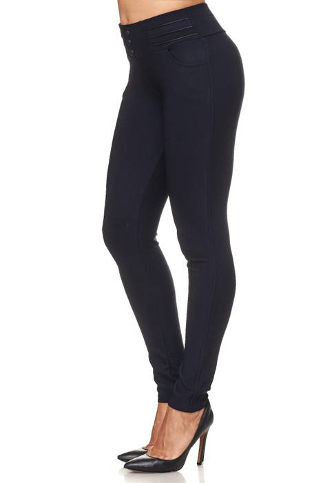 Damen Treggings Biker Leder Optik Knöpfe Stretch Hüfthose Hose Leggings D2093 – Bild 9