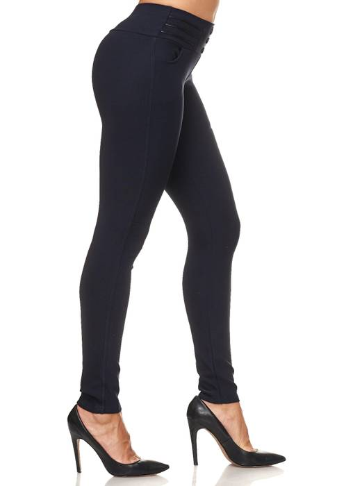 Damen Treggings Biker Leder Optik Knöpfe Stretch Hüfthose Hose Leggings D2093 – Bild 10