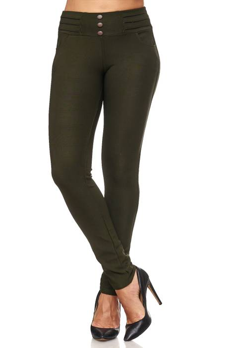 Damen Treggings Biker Leder Optik Knöpfe Stretch Hüfthose Hose Leggings D2093 – Bild 13