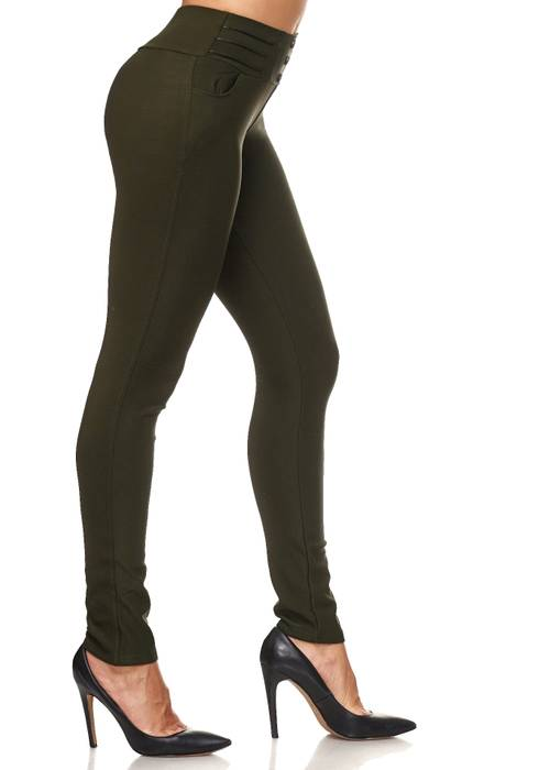 Damen Treggings Biker Leder Optik Knöpfe Stretch Hüfthose Hose Leggings D2093 – Bild 15