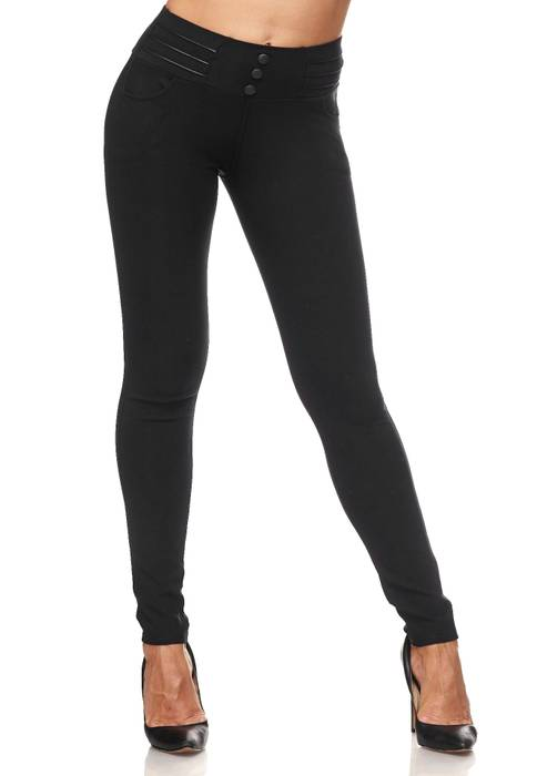 Damen Treggings Biker Leder Optik Knöpfe Stretch Hüfthose Hose Leggings D2093 – Bild 17
