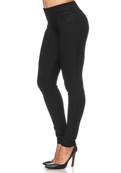 Damen Treggings Biker Leder Optik Knöpfe Stretch Hüfthose Hose Leggings D2093 – Bild 19